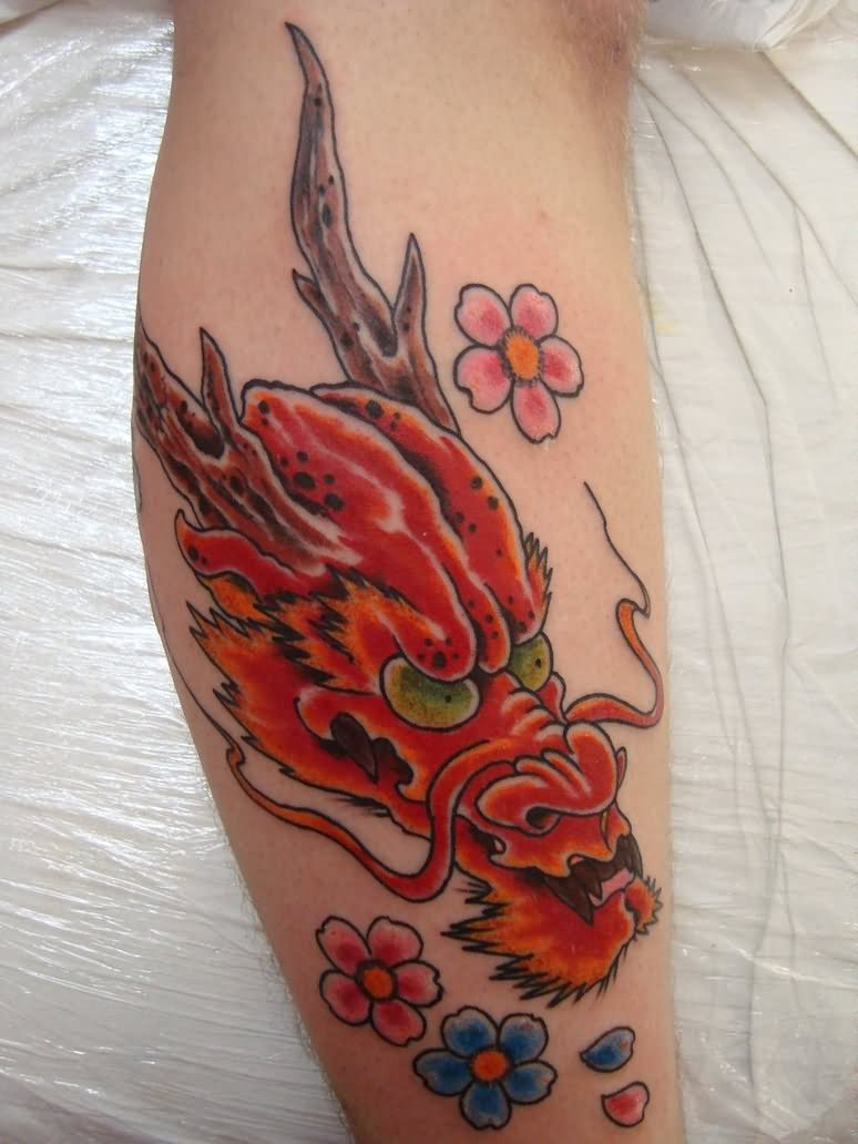 Beautiful Color Flowers and Dragon Tattoo On Girl Back