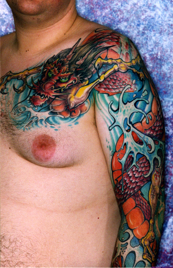 Dragon tattoo images designs for Chest and sleeve tattoo