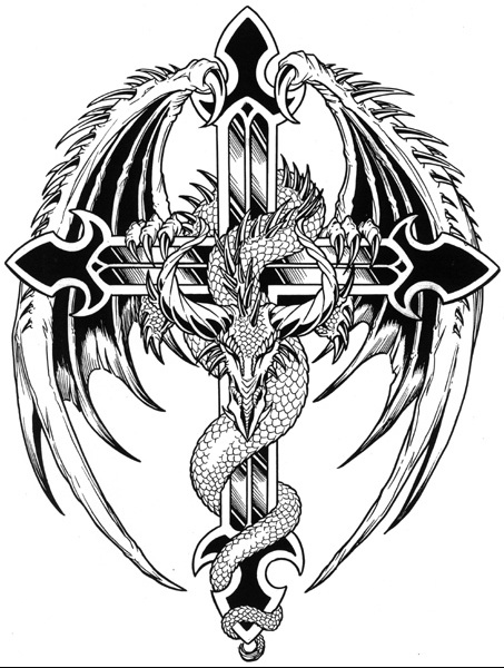 Cross And Winged Dragon Tattoo Design