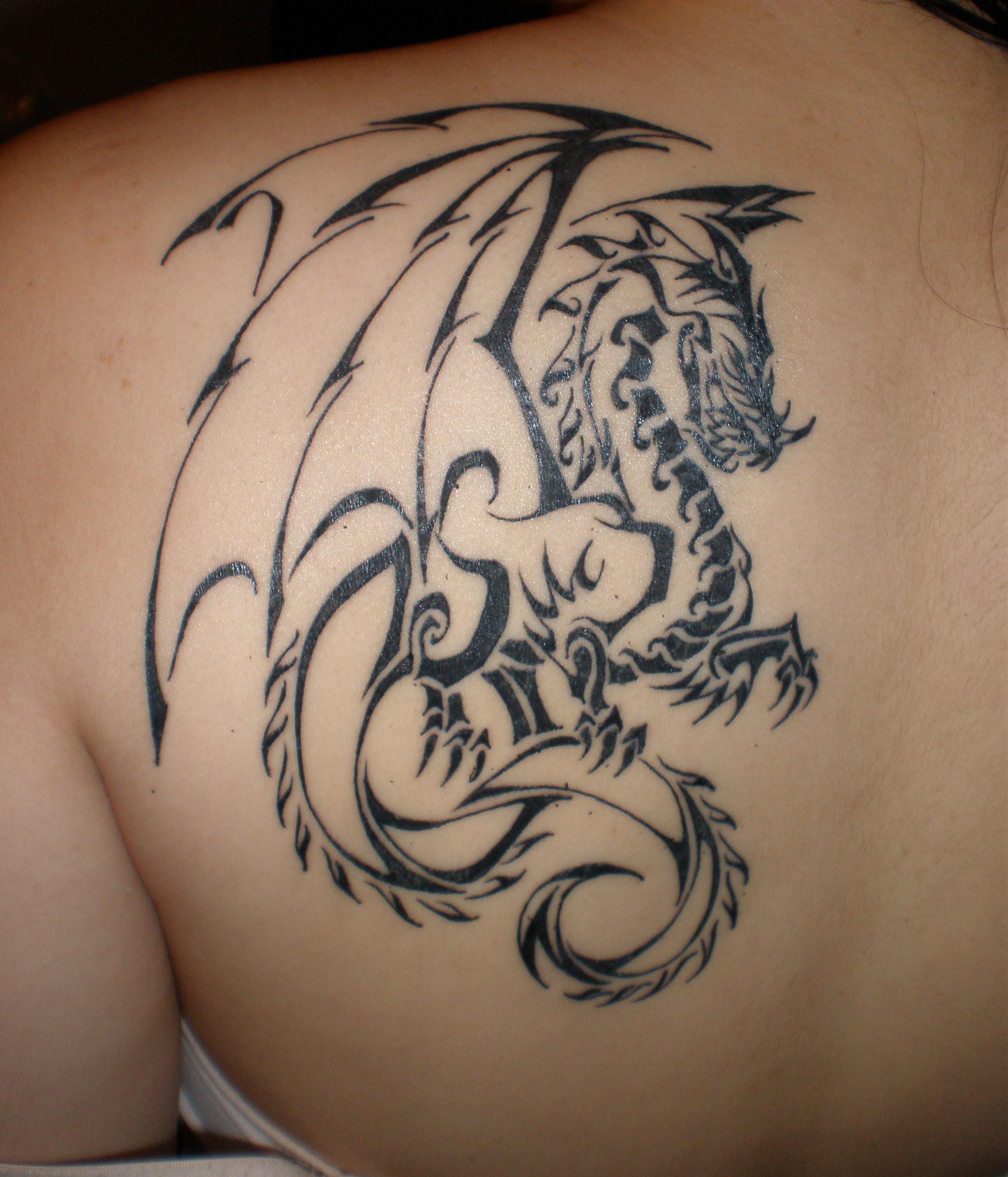 devil wings dragon tattoo on back for girls. Black Bedroom Furniture Sets. Home Design Ideas