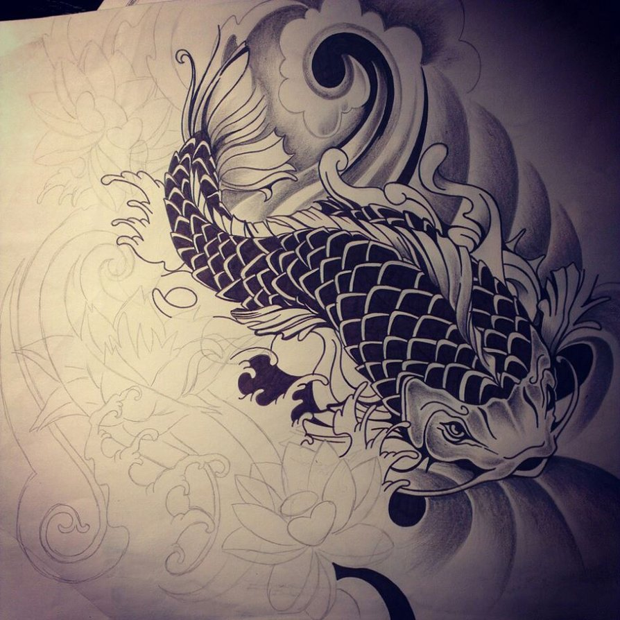 dragon koi tattoo design. Black Bedroom Furniture Sets. Home Design Ideas