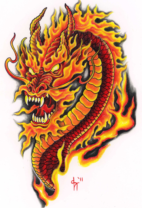 fire color dragon tattoo design. Black Bedroom Furniture Sets. Home Design Ideas