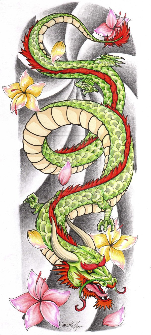 Dragon Tattoo With Flowers: Flowers And Chinese Green Dragon Tattoo Design
