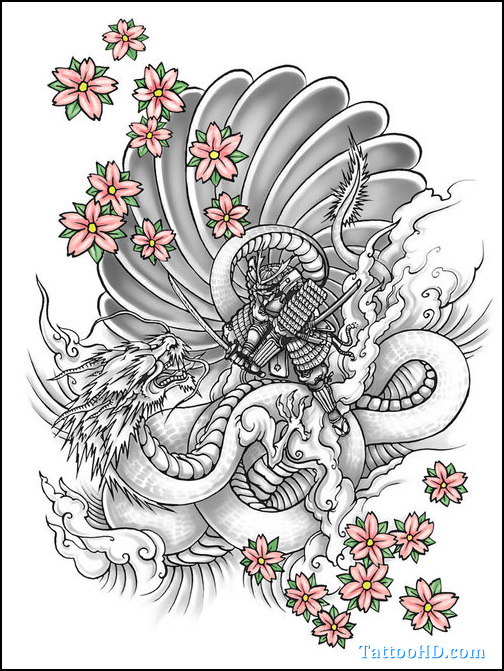 Dragon Tattoo With Flowers: Flowers And Yin Yang Dragon Tattoo Design
