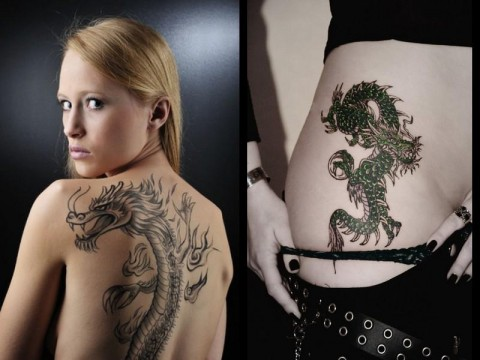 girl with dragon tattoo on back and side. Black Bedroom Furniture Sets. Home Design Ideas