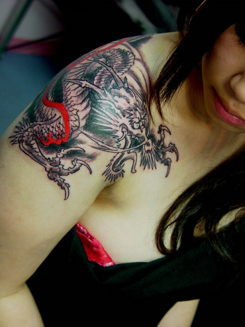 Grey ink chinese dragon tattoo on girl right shoulder for Tattoos on shoulder for girl