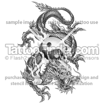 Grey Ink Dragon And Yin Yang Tattoo Design