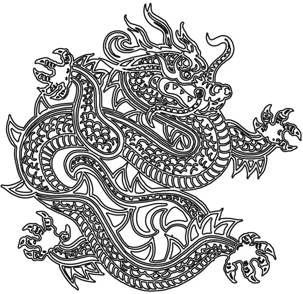 Chinese Dragon Head Outline Grey Ink Tattoo On