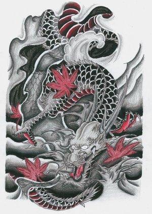 japanese color dragon tattoo design. Black Bedroom Furniture Sets. Home Design Ideas