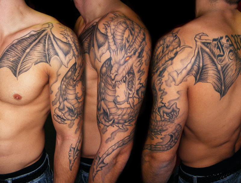 large devil winged dragon tattoo on half sleeve. Black Bedroom Furniture Sets. Home Design Ideas