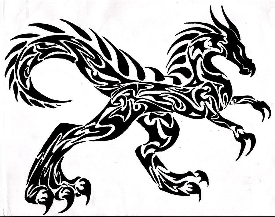 raptor tribal dragon tattoo design. Black Bedroom Furniture Sets. Home Design Ideas