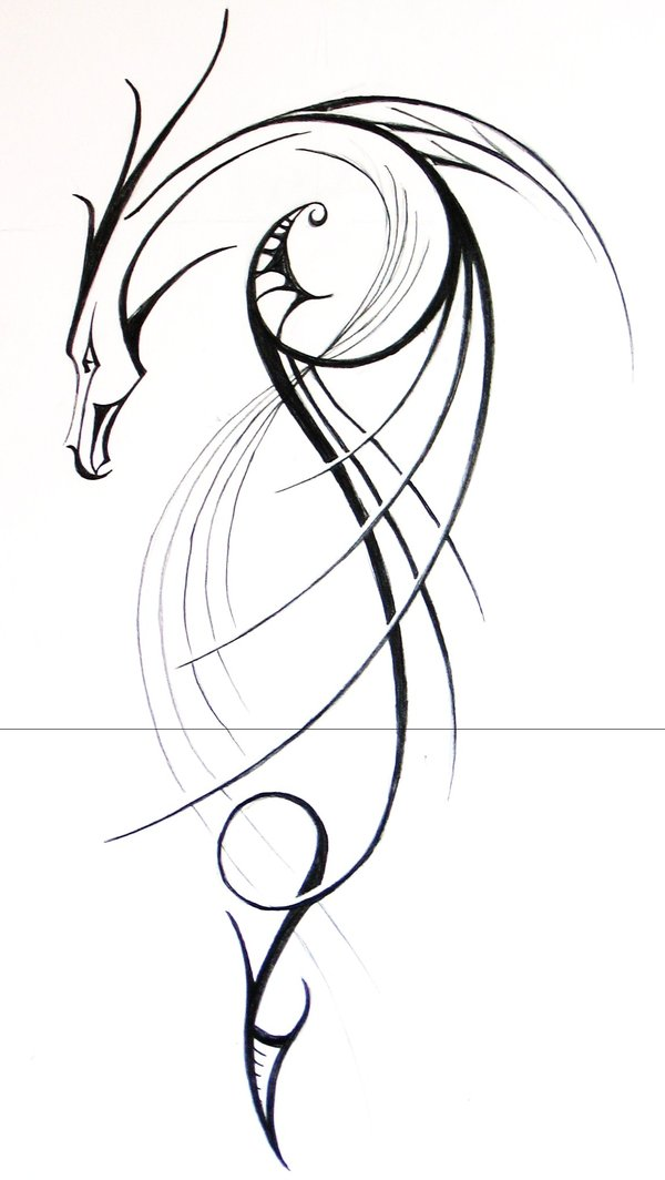 Line Drawing Dragon Tattoo : Simple tribal dragon tattoo design