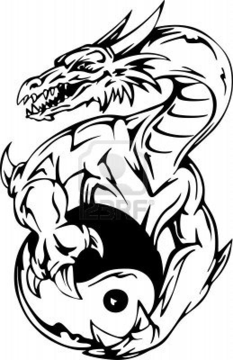 Tribal black dragon tattoo on left shoulder