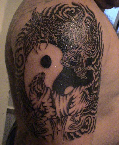 Yin Yang Dragon and Tiger Tattoo On Half Sleeve