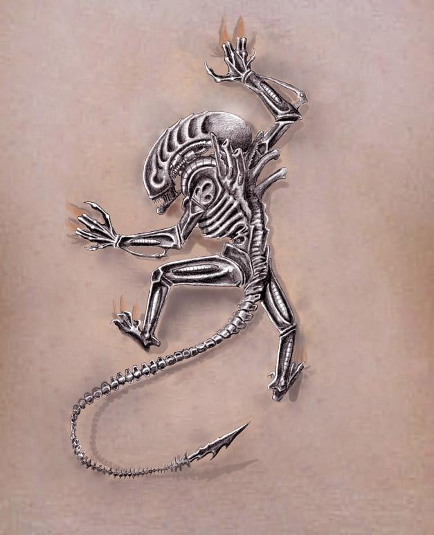 Alien Climbing Tattoo Design