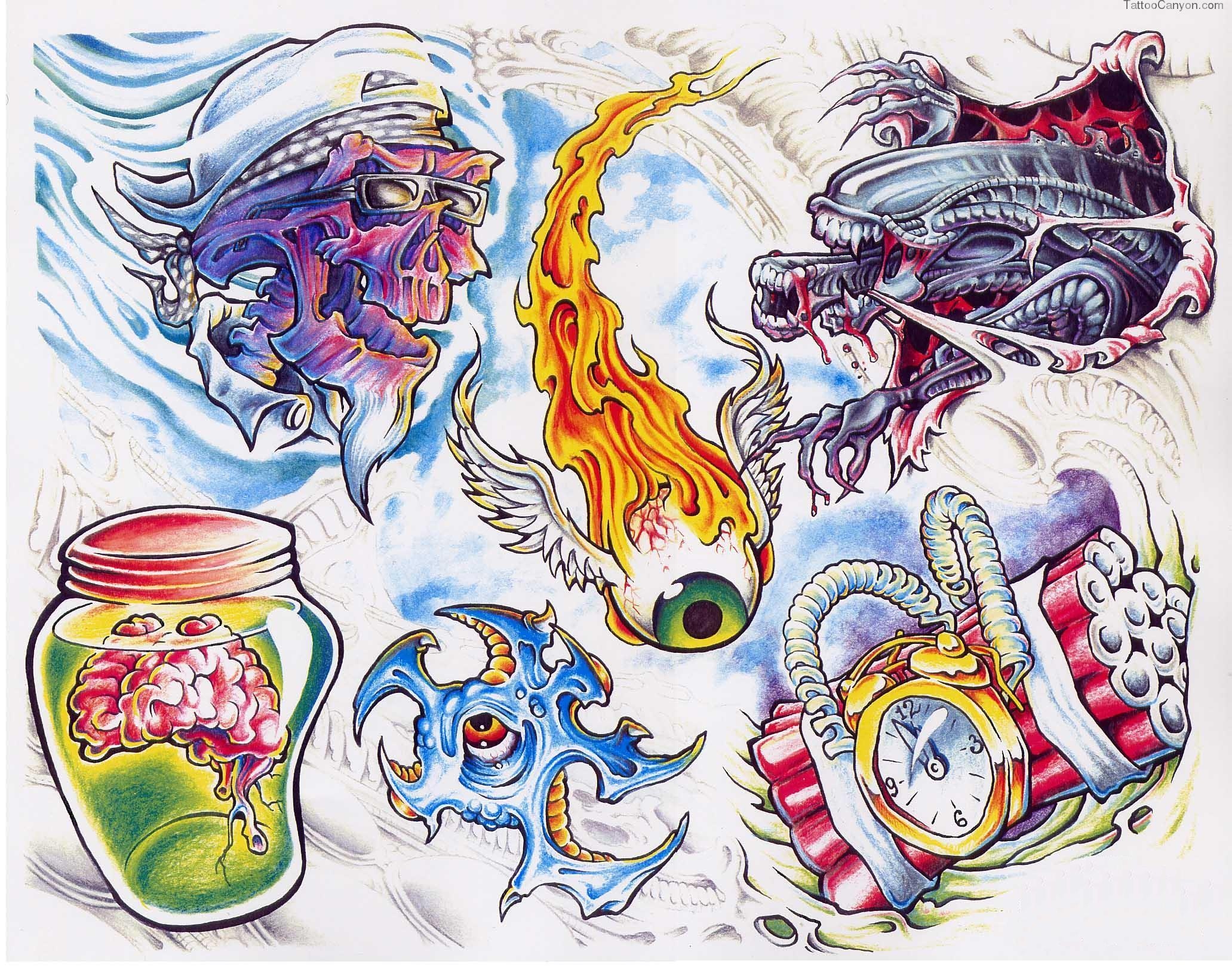 Flaming Eye And Color Alien Tattoos Design
