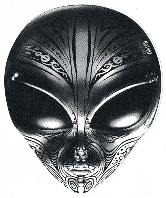 Grey Ink Tribal Alien Head Tattoo Design