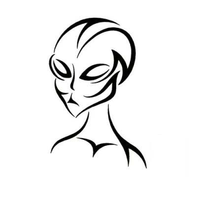 tribal outline alien head tattoo. Black Bedroom Furniture Sets. Home Design Ideas