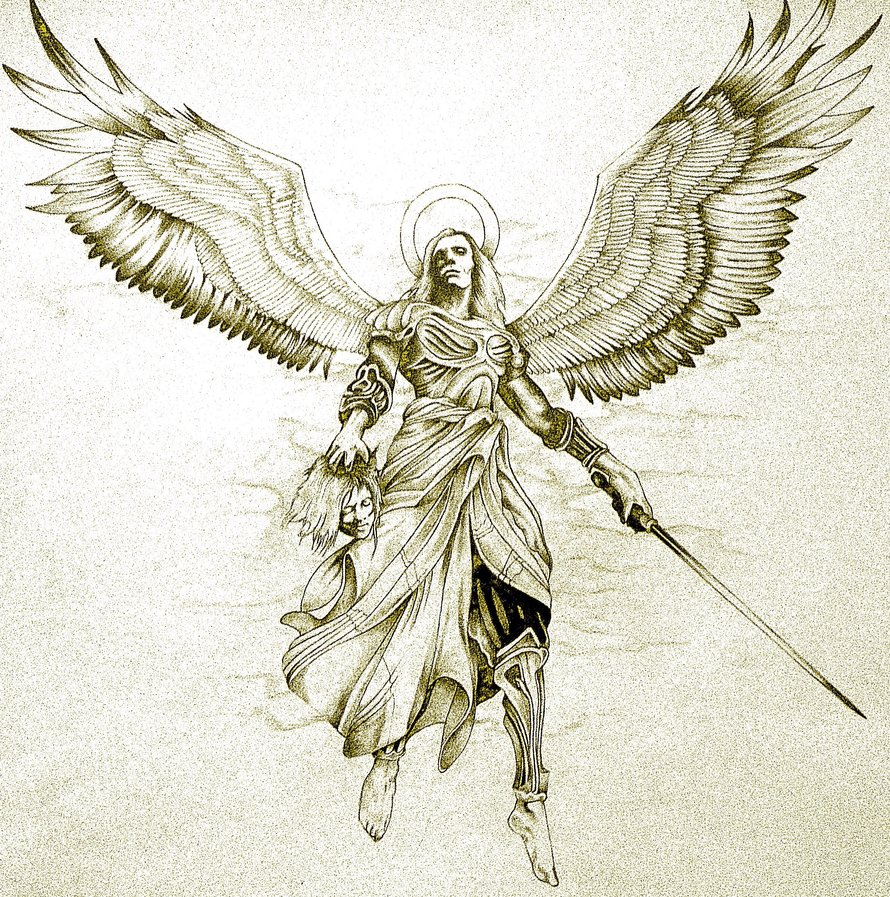 Amazing Angel With Dagger Tattoo Design