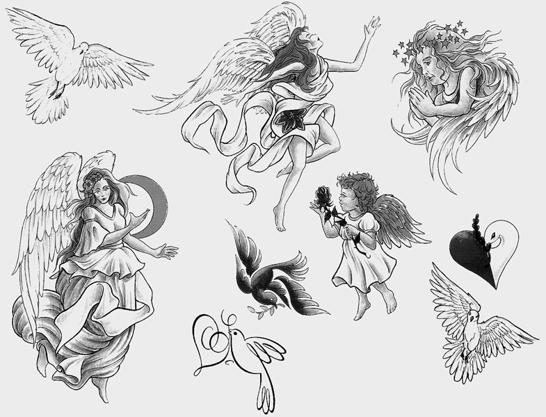 Angel Girl And Baby Angel Tattoo Designs