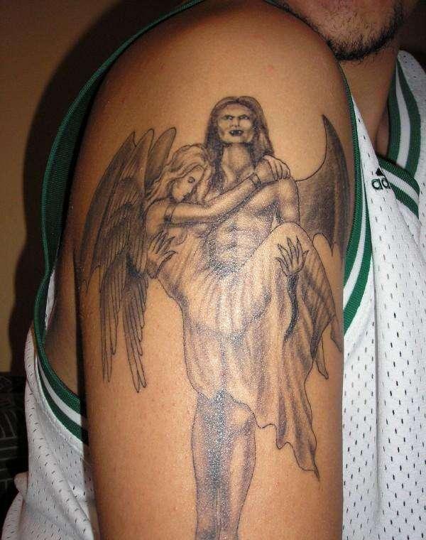 Archangel Arm Tattoo Angel Girl In Devil Arms Grey