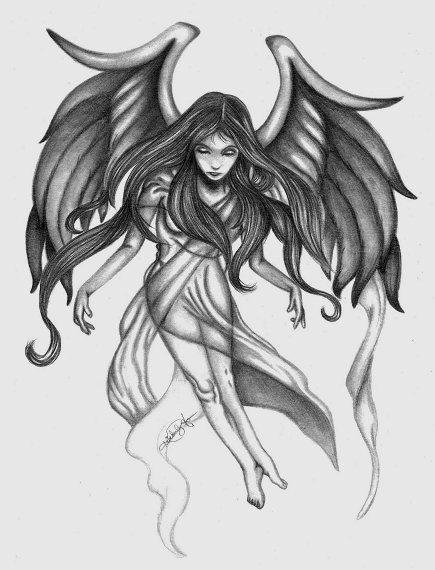 angel girl tattoo design for girls. Black Bedroom Furniture Sets. Home Design Ideas