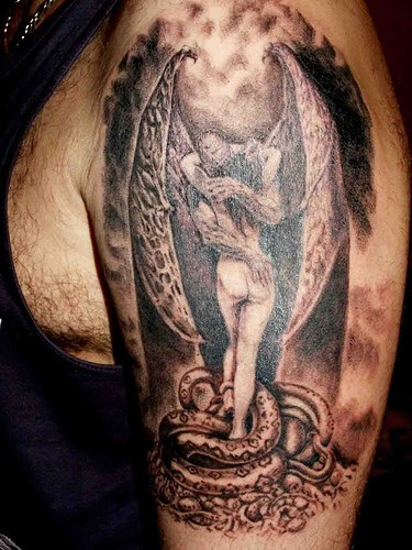 Angel Love Tattoo On Left Shoulder