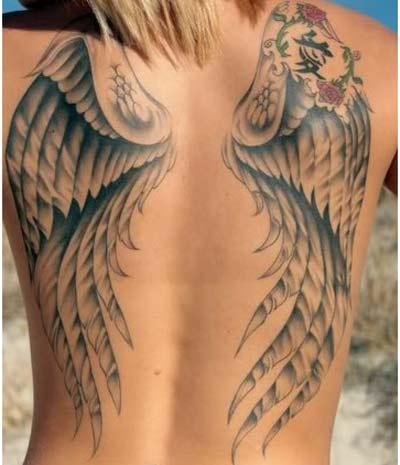 Angel Wings Tattoo On Girl Back Body