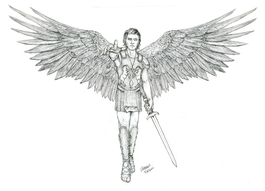 Guardian Angel Tattoo Sketches Guardian Angel With Sw...