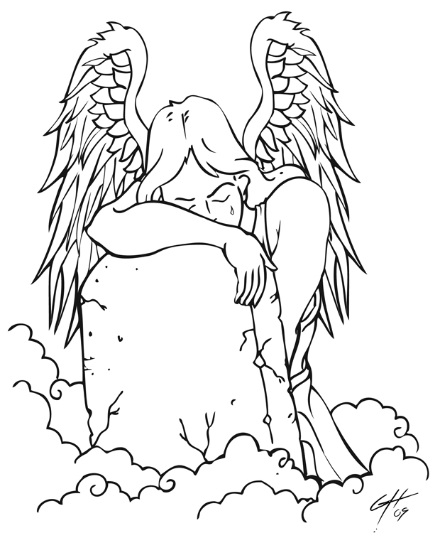 Angel With Tombstone Tattoo Design