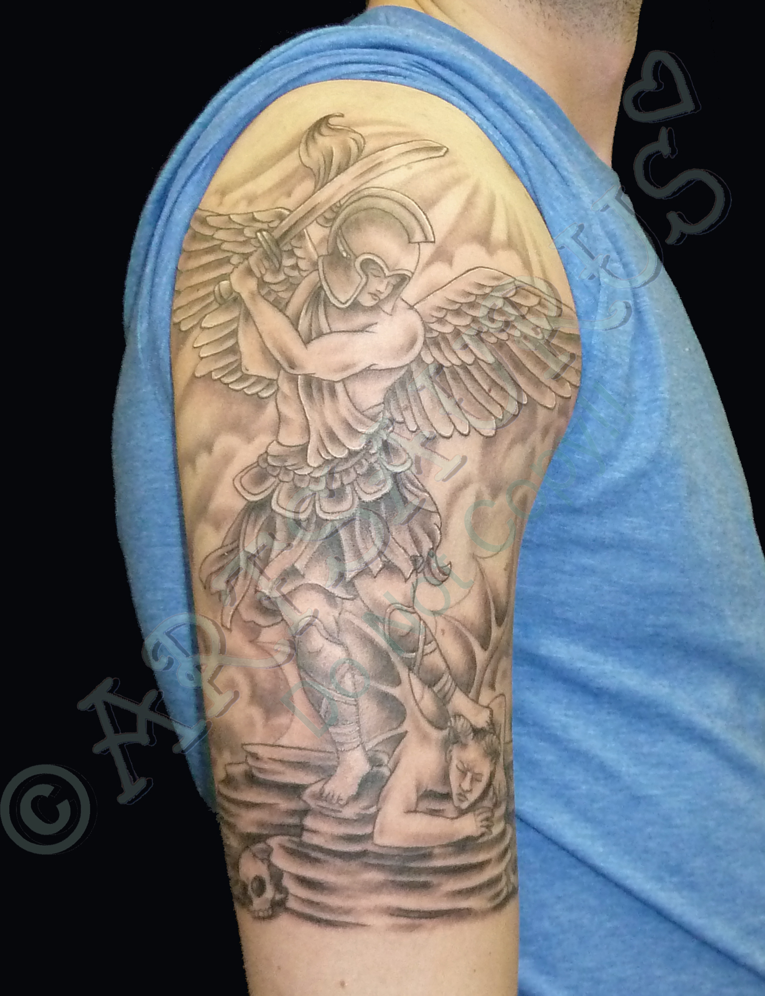 Archangel With Sword Grey Ink Tattoo On Right Half Sleeve
