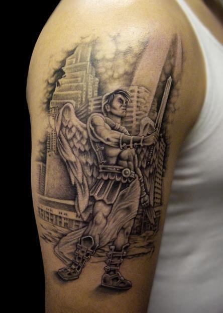 Attractive grey ink angel tattoo on man right half sleeve for Warrior angel tattoos