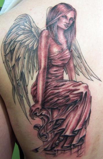 beautiful angel girl tattoo on back shoulder. Black Bedroom Furniture Sets. Home Design Ideas