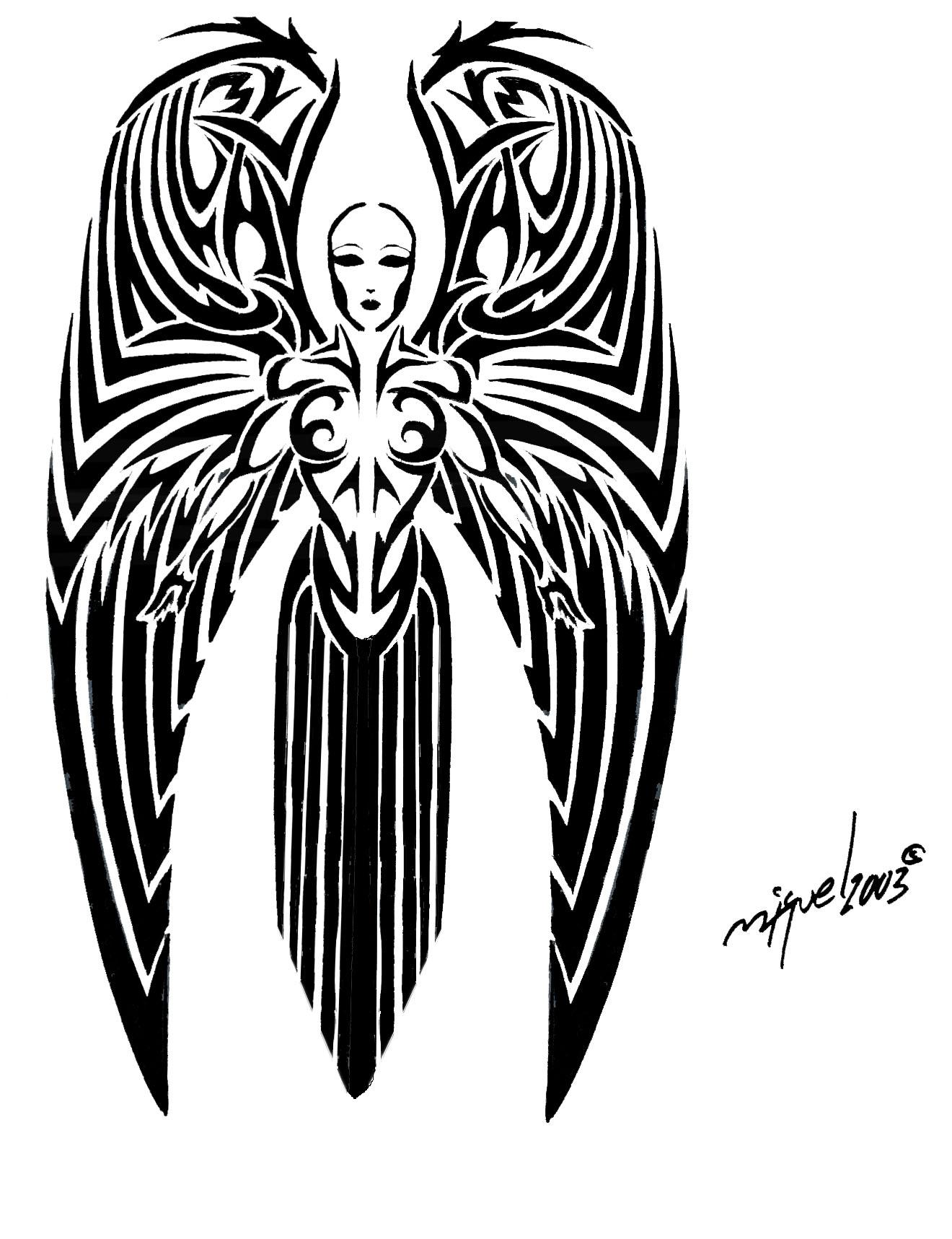 black ink tribal angel tattoo design. Black Bedroom Furniture Sets. Home Design Ideas