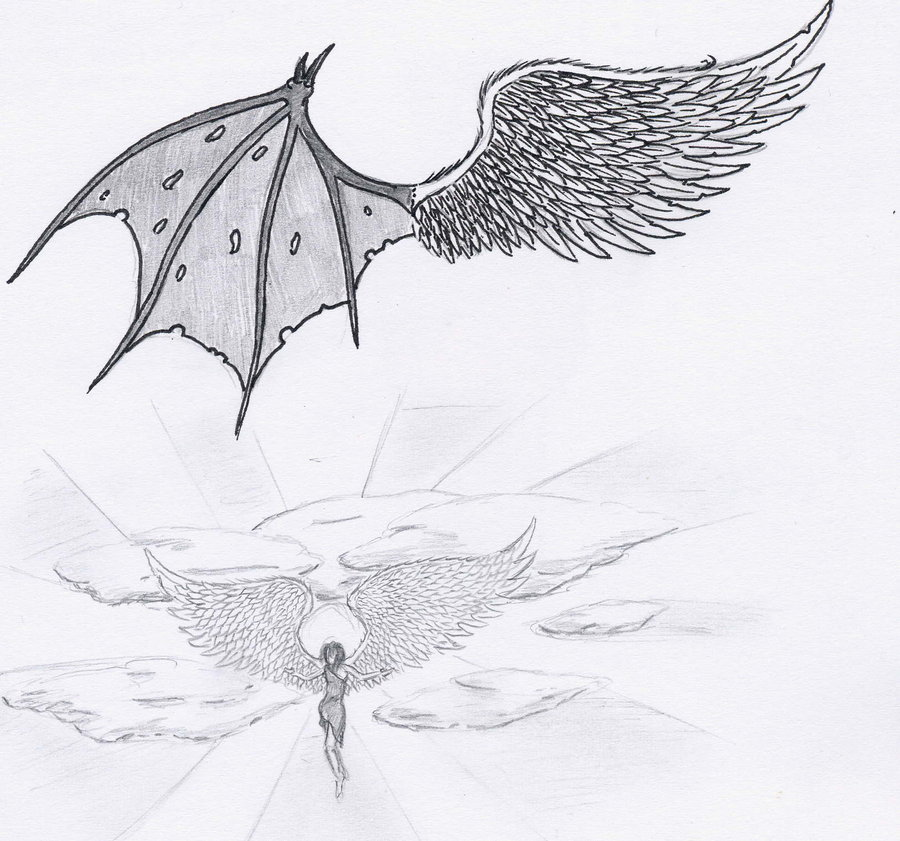 devil and angel wing tattoo design
