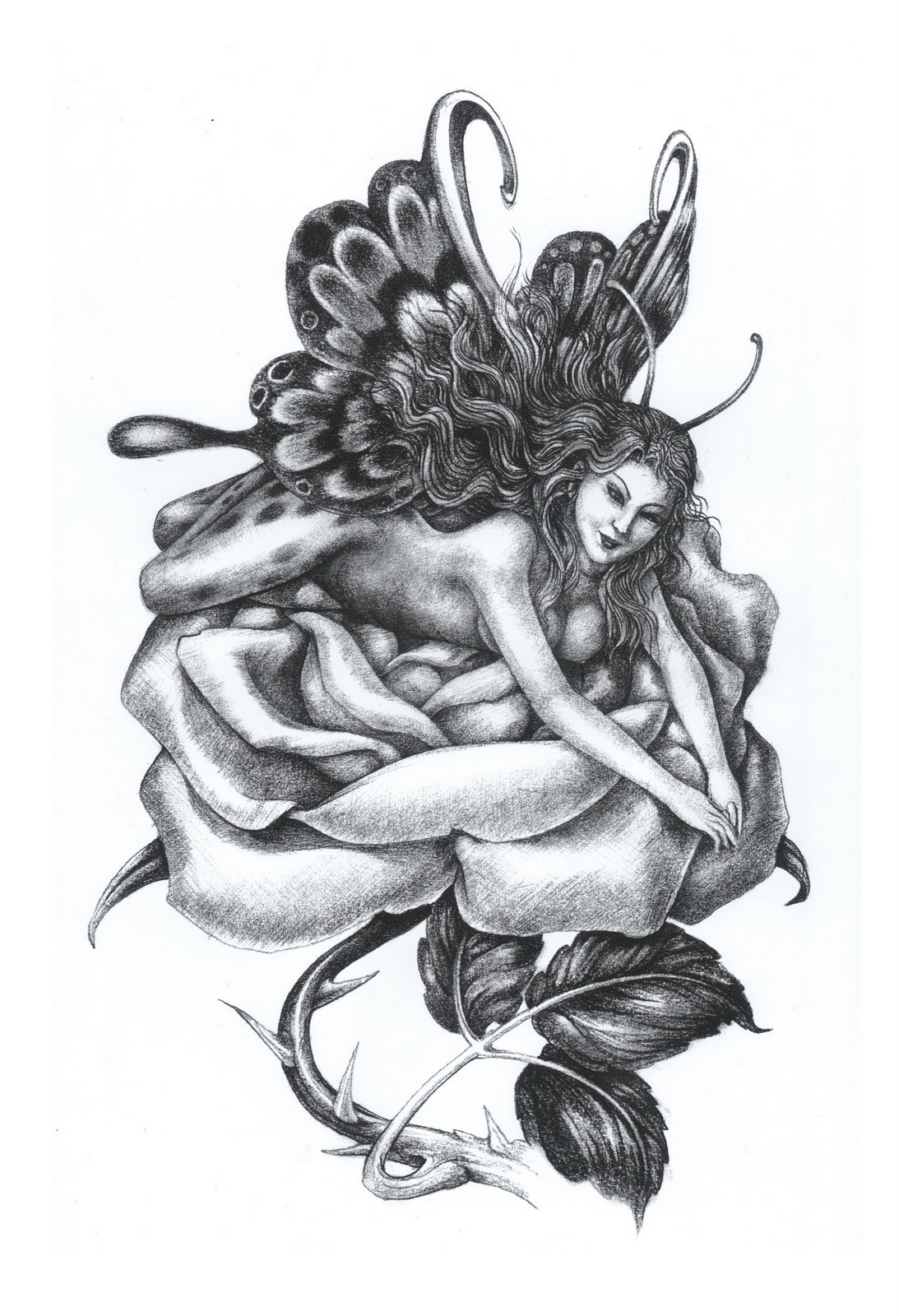 fairy angel lying on rose flower tattoo design. Black Bedroom Furniture Sets. Home Design Ideas