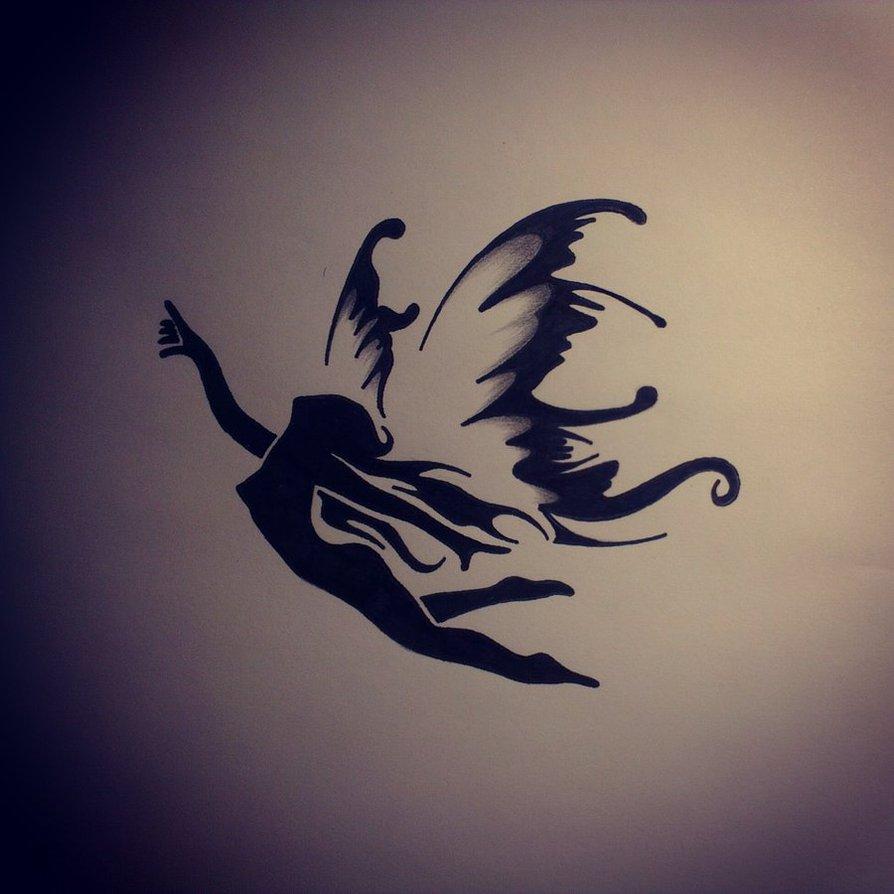 Flying Fairy Angel Tattoo Design