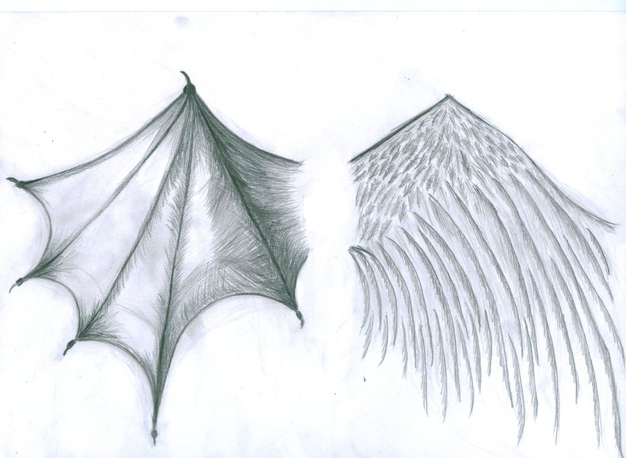 grey ink angel and devil wings tattoo design. Black Bedroom Furniture Sets. Home Design Ideas