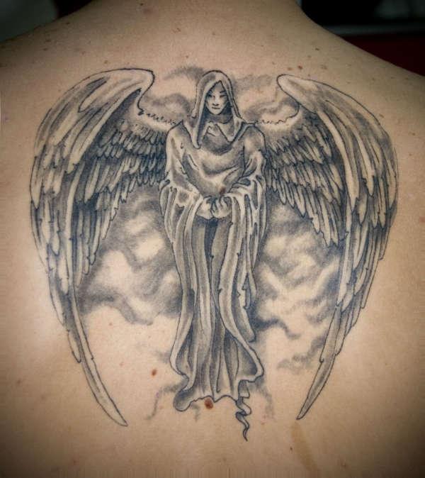 8b7ec2456b786 Grey Ink Angel Tattoo On Upperback