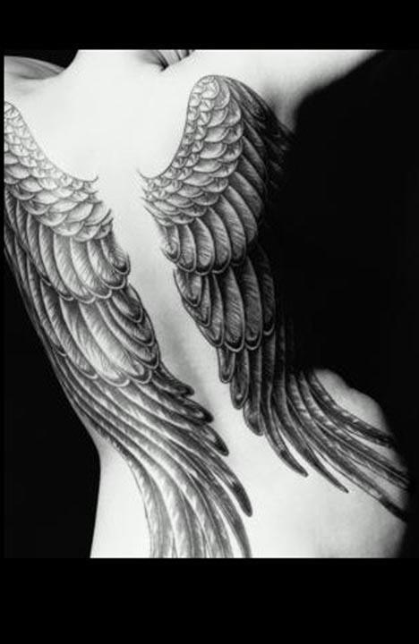 Grey Ink Angel Wings Tattoo On Back Body