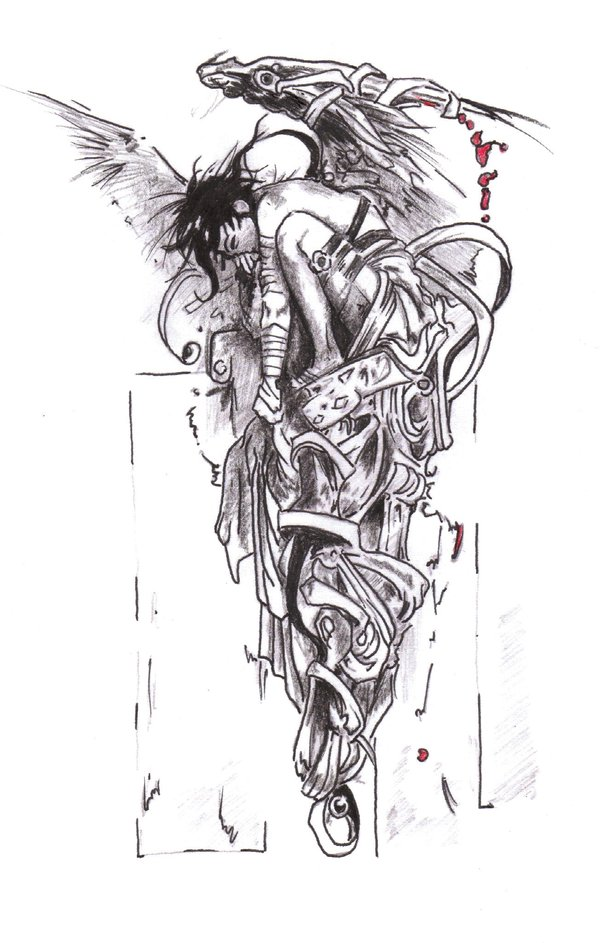 Grey Ink Fallen Angel Tattoo Design