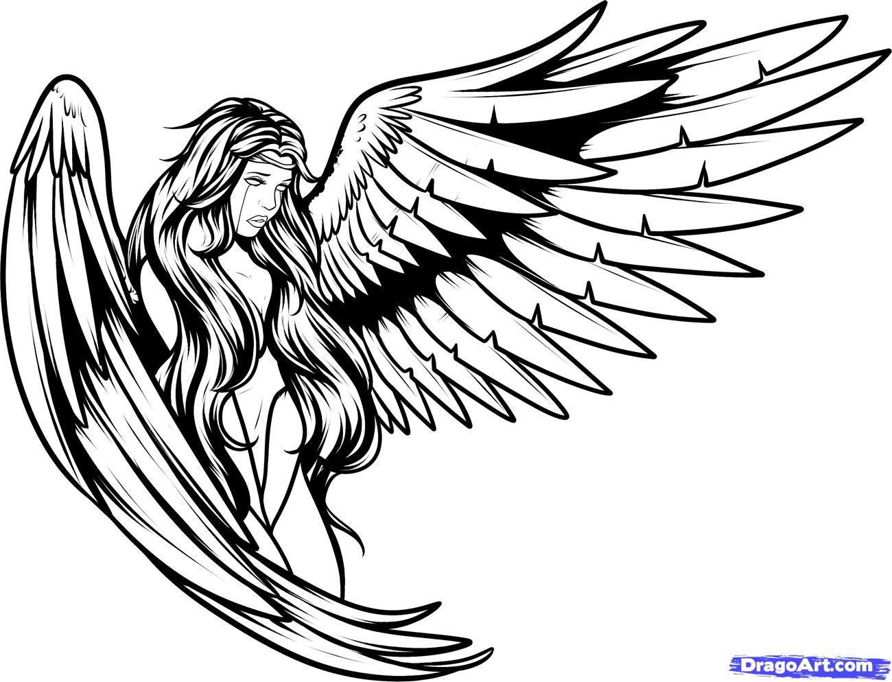 Large Wings Angel Tattoo Design