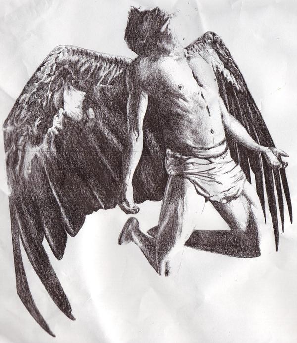 male angel flying tattoo design. Black Bedroom Furniture Sets. Home Design Ideas
