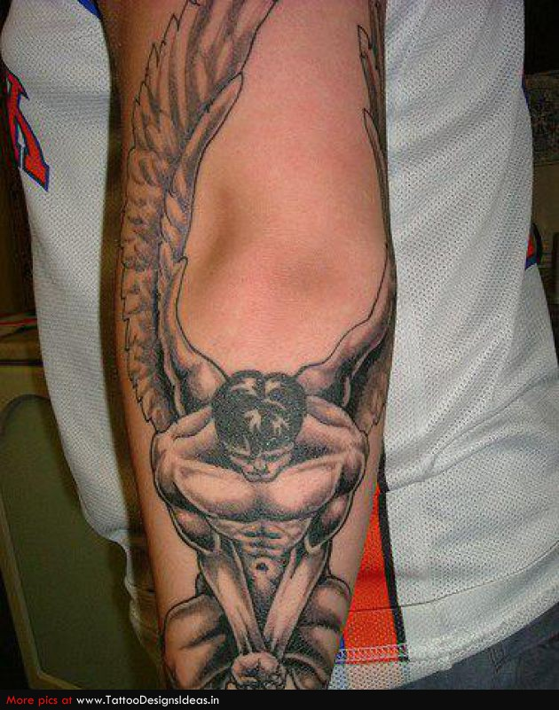Male Fallen Angel Tattoo On Sleeve