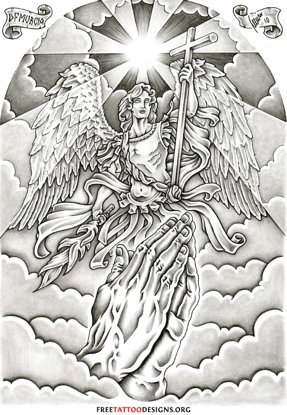 Praying Hands And Archangel Tattoo Design
