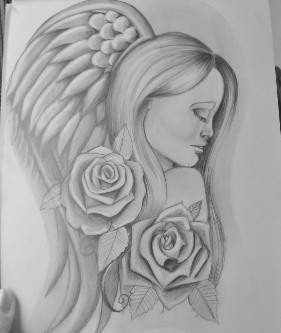 Rose Flowers And Angel Girl Tattoo Design