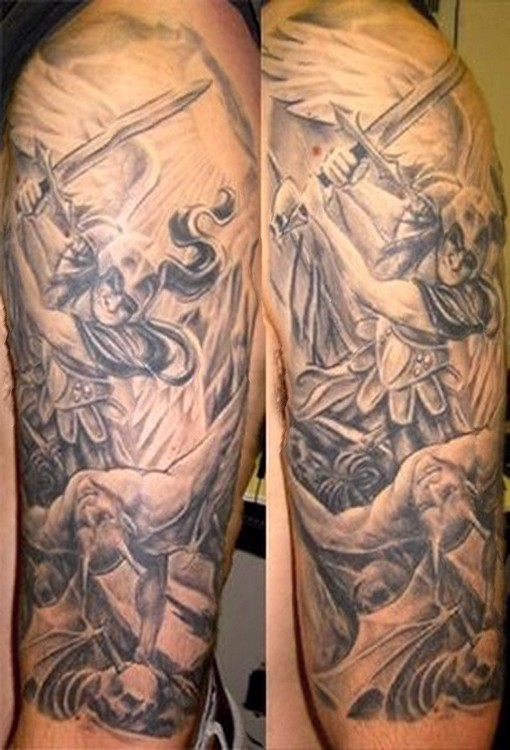 Warrior angel grey ink tattoo on half sleeve for Angel half sleeve tattoo