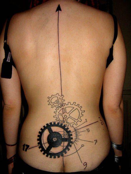 Chain Gear Back Tattoos