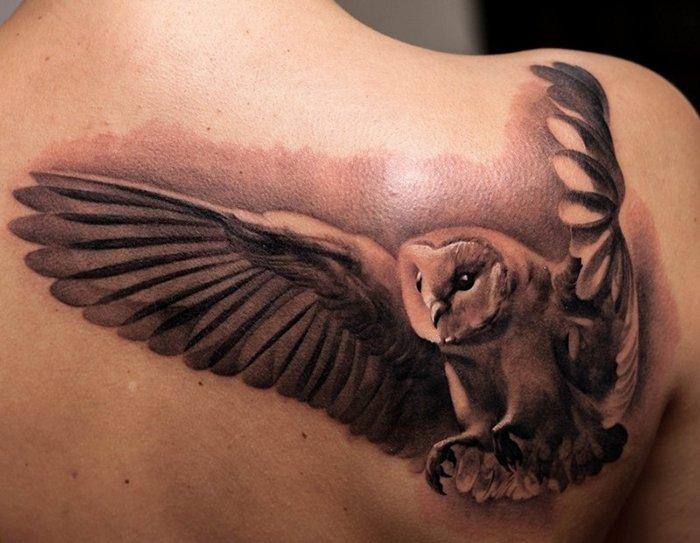 flying owl grey ink back tattoo. Black Bedroom Furniture Sets. Home Design Ideas