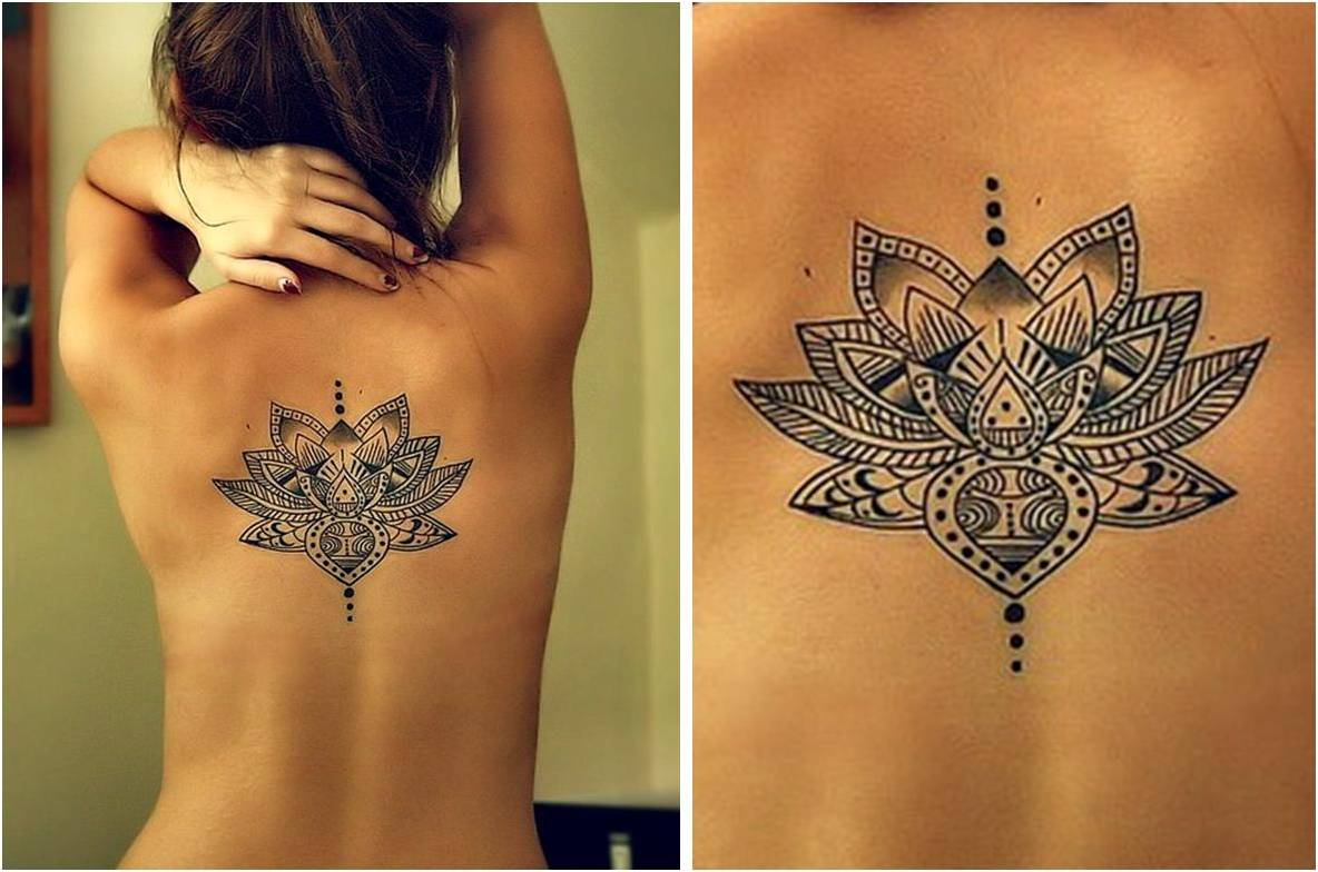 Girl with grey ink flower back tattoo izmirmasajfo Image collections